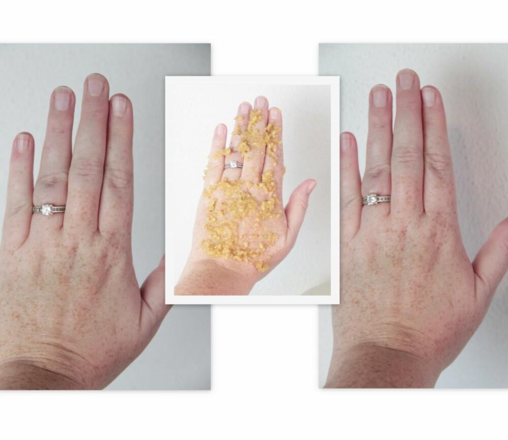 MYKE HENDER: Valnøttskrubben er helt naturlig og rikt på fett og antioksidanter som sørger for babymyke hender i vinter.