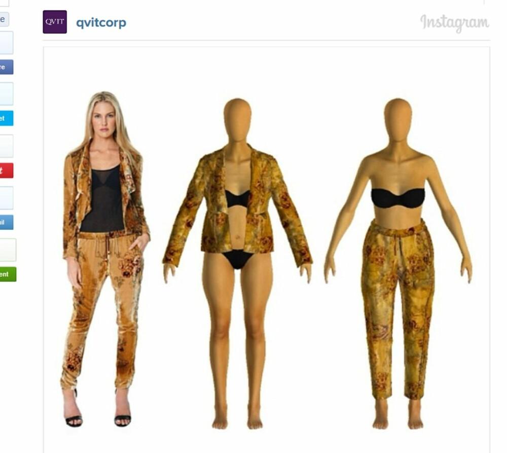 DIN HELT EGNE AVATAR: «Avatar-shopping» tar utgangspunkt i en virtuell deg som, i teorien, skal vise deg nøyaktig hvordan plagget sitter på kroppen din - etter at du har oppgitt vekt, høyde, skostørrelse og flere ulike kroppsmål. Nettbutikken Qvit.com lanserte nylig en egen variant som du ser et eksempel på her.