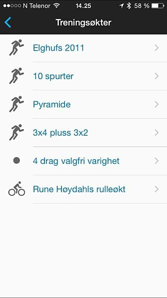 MOBILEN: Appen Connect gir deg oversikt over treningen og synkroniserer øktene dine mot portalen Connect på nett. Her kan du også velge blant treningopplegg du har laget, og sende dem til klokka.