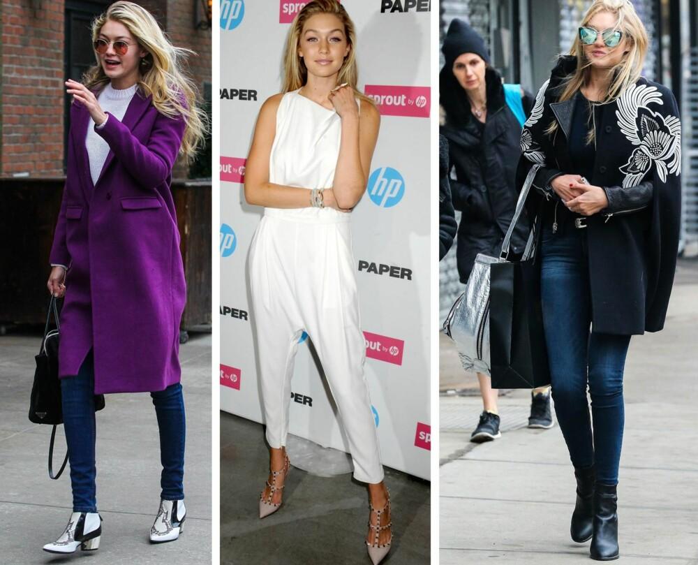 EKLEKTISK: Gigi har en unik og eklektisk stil, og mikser ofte trendplagg med sikre garderobeklassikere. Jumpsuiten, den lange jakken, herreinspirerte sko og et par statement-solbriller er ofte å se på it-jenta. FOTO: Stella Pictures