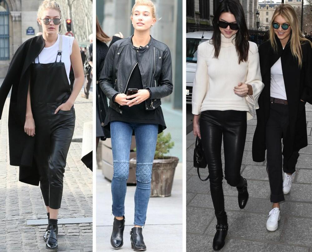 Blant favorittlookene til Eva Wigert Næss, country manager hos PR-byrået Presskontakterna, og tidligere personal stylist for luksusvarehuset Harvey Nichols i London, finner vi den enkle snekkerbuksen i skinn, som Gigi har kombinert med en enkel, hvit T-skjorte og lave boots. Gigi er også ofte å se iført jeans, skinnjakke og sneakers. - Denne stilen passer perfekt for norske jenter og er enkel å kopiere. Passform er viktig, og du kommer langt med et par perfekte jeans, en stripete T-skjorte og en stor jakke, sier Næss. FOTO: Stella Pictures