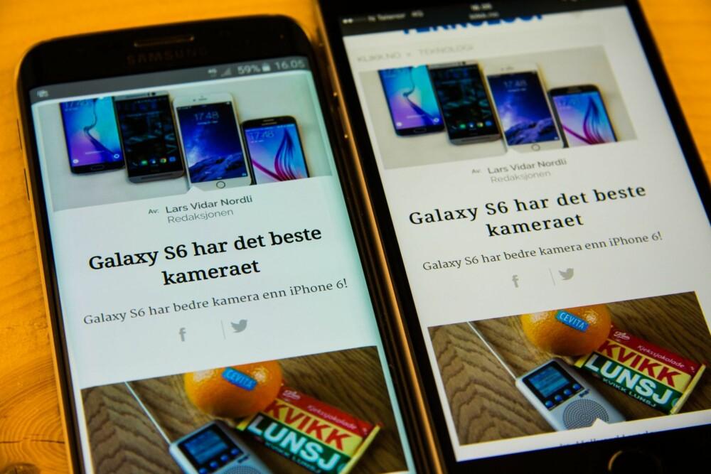 IKKE HELT PERFEKT: Hvite bakgrunner på Galaxy S6 Edge har en litt gråblå farge, noe som tar ned den opplevde kontrasten. iPhone 6 (til høyre) har en hvitere bakgrunn og det synes vi gjør lesbarheten bedre.