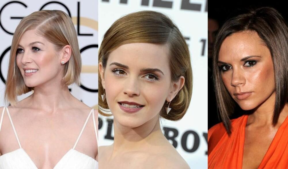 BOB: En klassiker som aldri går av moten og som kan varieres på mange måter. Rosamund Pike, Emma Watson og selveste Victoria Beckham har alle rocket en bob. FOTO: Stella Pictures