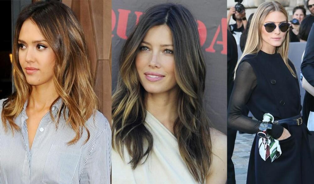 LANGT OG GRADERT: Det er den ultimate feminine frisyre. Se bare på Jessica Alba, Jessica Biel og vakre Olivia Palermo. FOTO: Stella Pictures