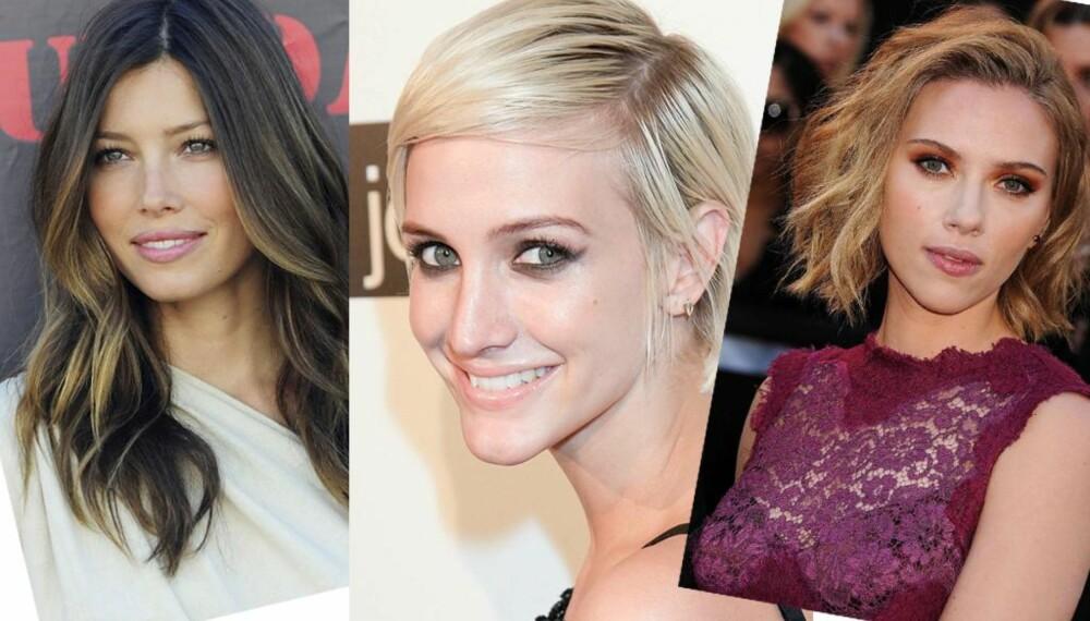"""KLEDELIG: Skal du klippe deg bør du vurdere en av disse lekre frisyrene. Gjør som Jessica Biel med sine lange, graderte lokker, Ashley Simpson med sin pixie-klipp eller Scarlett Johanson med sin """"wob"""".  FOTO: Stella Pictures"""