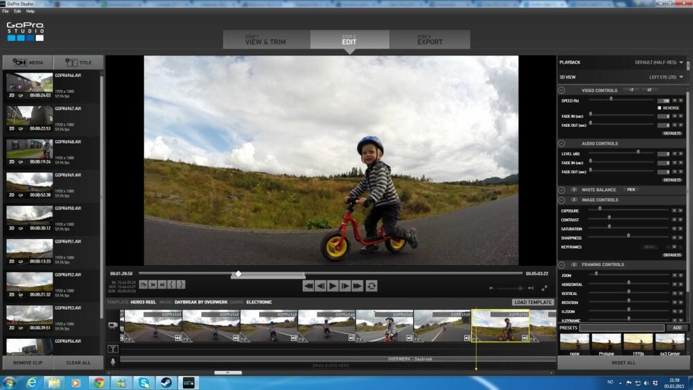 REDIGER: Bruk redigeringprogrammet som følger med GoPro. Det har funksjoner du trenger.