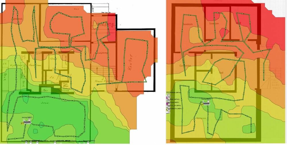 FØR: Slik var dekningen før. Grønt indikerer god dekning, rød ingen dekning. Kun stua i 1 etg. (bildet til venstre) og det store soverommet i kjelleren  (bildet til høyre) hadde godt nok signal.