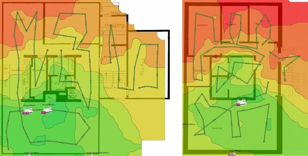 NY RUTER_ Særlig i 1. et. ble trådløsdekningen mye bedre bare av å sette inn en ny og moderne trådløs ruter. Kjelleren er avbildet til venstre.