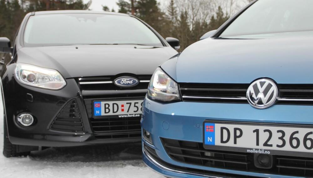 MESTERKAMP: Aldrende Ford Focus eller splitter nye VW Golf? Det er spørsmålet. ALLE FOTO: Petter Handeland