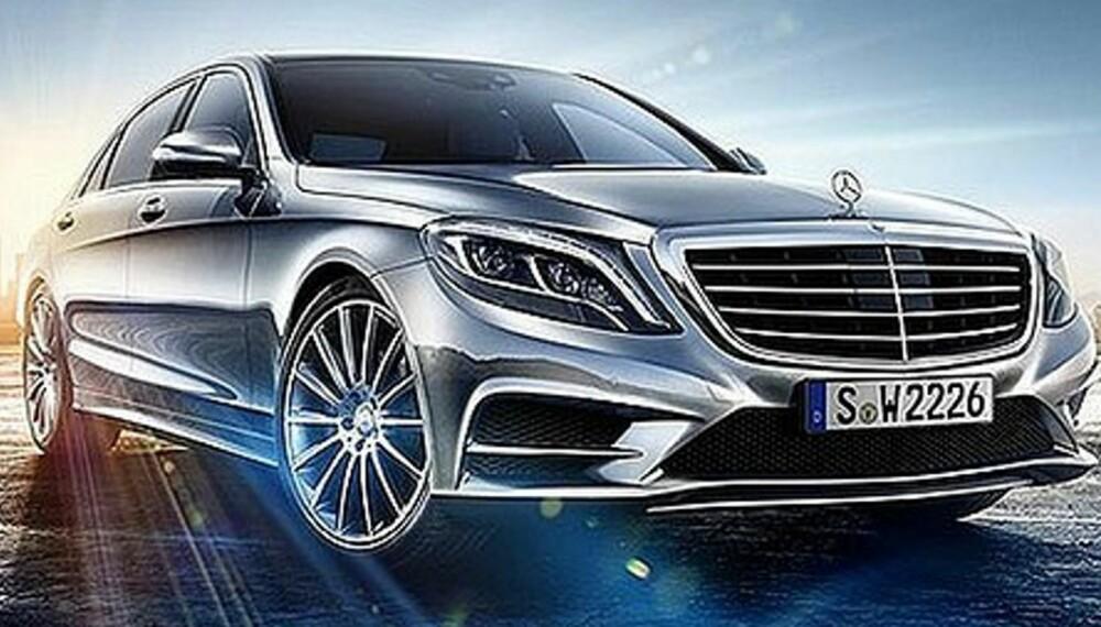LEKKASJE: Mercedes har lettet på sløret når det gjelder interiøret i nye S-klasse, men ingen offisielle bilder av selve bilen er vist. Dette har imidlertid lekket på nett. FOTO: Ukjent
