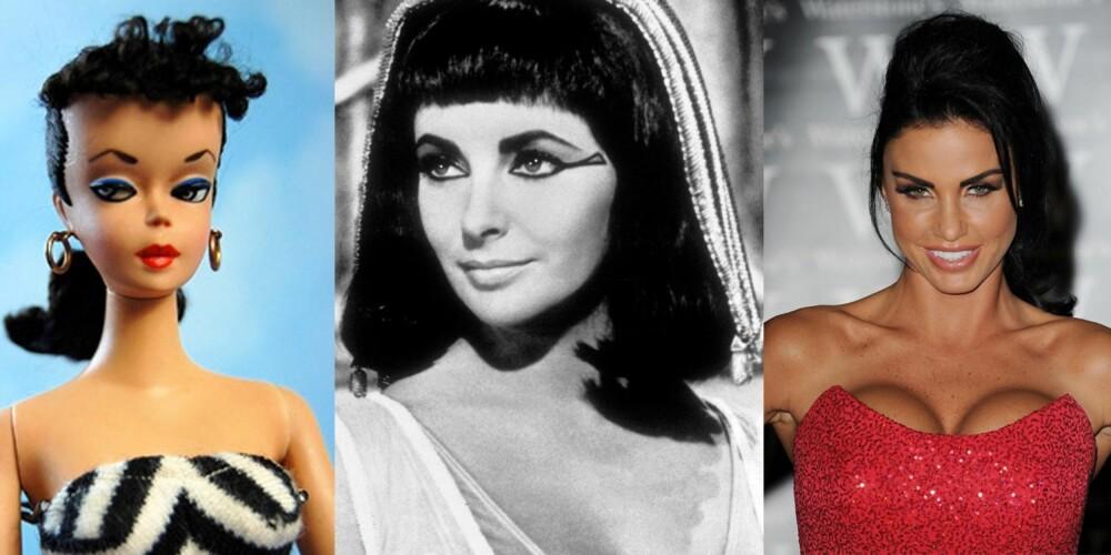 LANGT FRA EN NYHET: I flere tiår har unge damer pyntet seg med stort, frisert hår, mye sminke og korte kjoler. I 1959 ble Barbie (til venstre) lansert, som kan sies å være den første damen med Towie-looken. Senere kom Elizabeth Taylor som Cleopatra (i midten), som nesten er tro kopi av en Towie-jente. Spice Girls på 90-tallet er heller ikke til å komme unna, før Katie Price (til høyre) gjorde entré med mye sminke, extensions, silikonpupper og Botox.