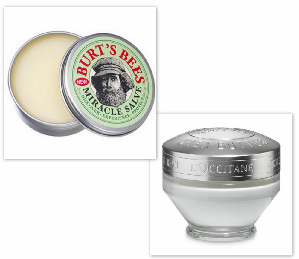 ALTERNATIV: Miracle Salve fra Burt's Bees (kr 139) og Ultra Rich Face Cream fra L'Occitane (kr 329).