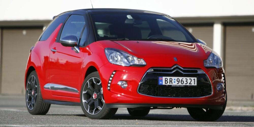 CITROËNS MORSOMTE: Citroën DS3 DSport THP 150 er Citroëns morsomste: 1598 cm³, 156 hk, 240 Nm, 0-100 km/t 7,6 sek., toppfart 216 km/t, testforbruk 0,56 l/mil. FOTO: Petter Handeland