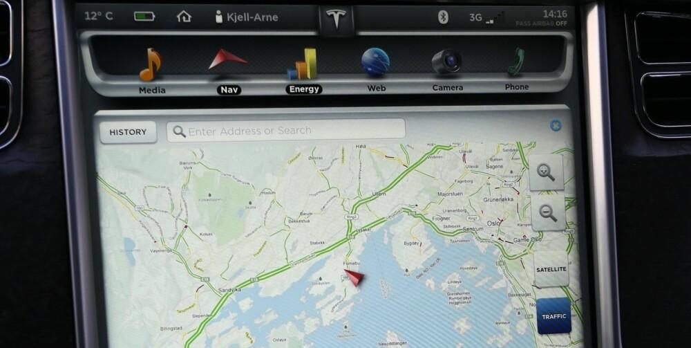 ENKELT: Betjeningskonseptet på skjermen i midtkonsollet er kjent for alle med smarttelefon eller nettbrett.