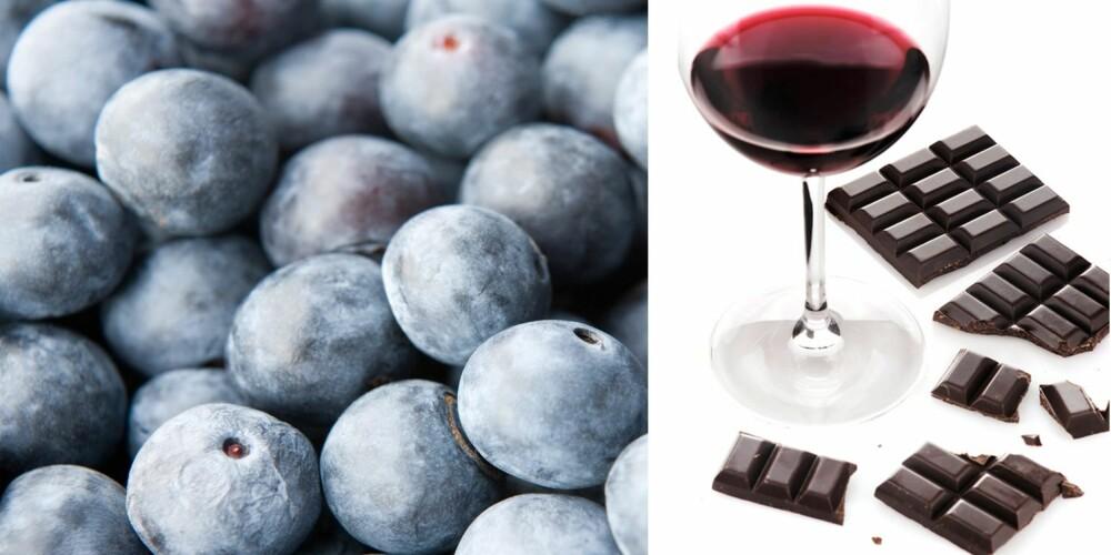SPIS DEG YNGRE: Visste du at rødvin og sjokolade har en foryngrende effekt? Eller at blæbær er stappfulle av vitaminer, mineraler og antioksidanter?