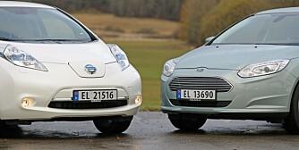 3 x elbil, Ford Focus Electric, Nissan Leaf, VW e-up, november 2013