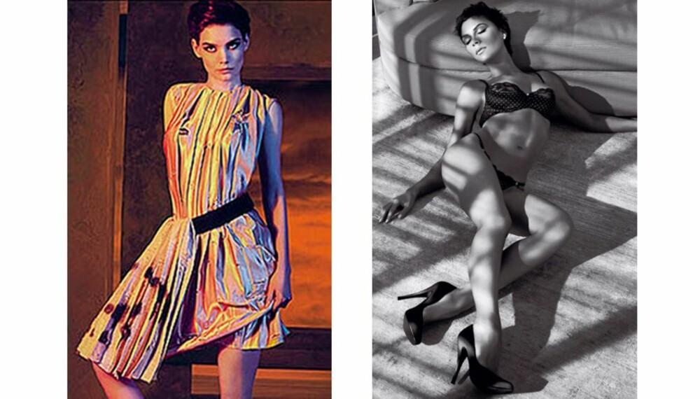 HVEM ER MEST SEXY: Katie Holmes og Victoria Beckham har tatt bilder til hver sin dampende reklamekampanje.