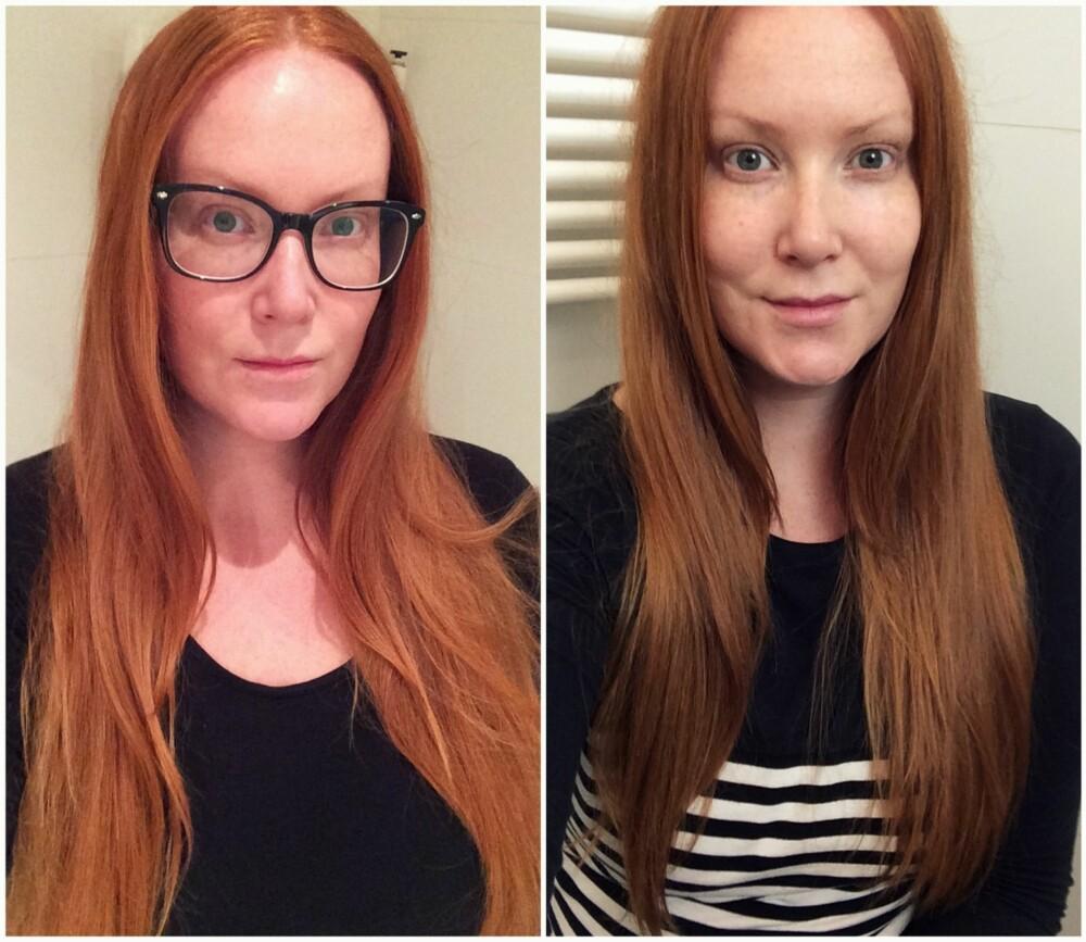 FØR OG ETTER: Håret ser sunnere og fyldigere ut, men samtidig lettere og ikke så tyngende rett etter den lille stussen.