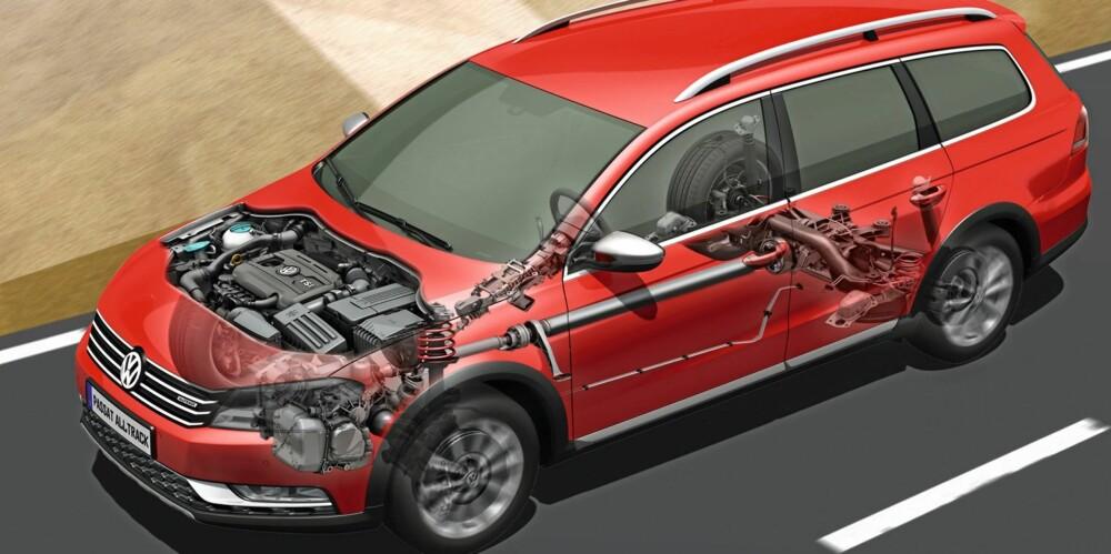 4WD: I 4Motion-systemet er det en Haldex-kobling (flerplate-clutch) som overfører drivkrefter til bakhjulene når elektronikken registrerer glatt føre.