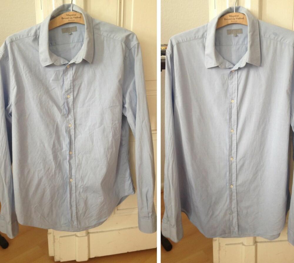 FØR OG ETTER: En herreskjorte i 100 prosent bomull, før og etter ti minutter i dusjen. Suksess!