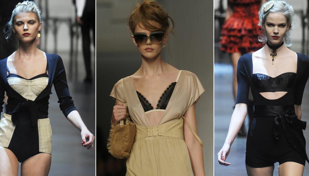PÅ CATWALKEN: Dolce & Gabbana og Fendi viste frem undertøyet under moteukene i høst.