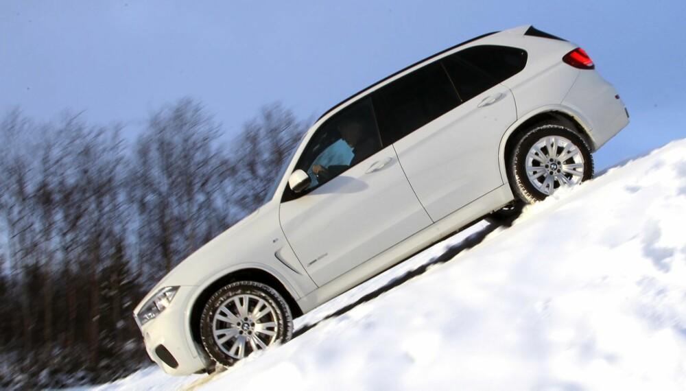 HILL DESCENT: I bratte nedoverbakker har BMW X5 et system som regulerer farten. Individuell nedbremsing av hvert hjul klarer du ikke på egenhånd.