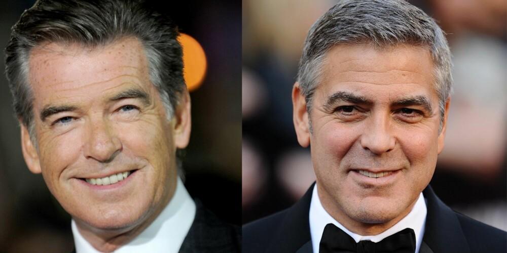 KJEKKE MENN I VOKSEN ALDER: Både Pierce Brosnan (60) og George Clooney (52) er kjent for å holde seg godt.