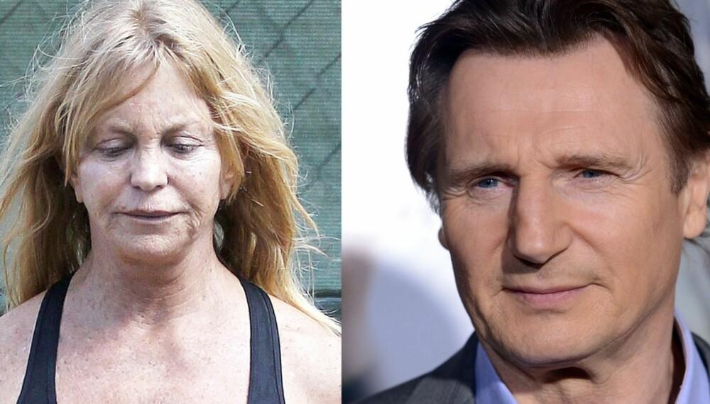 SANNHET ELLER MYTE? Er det virkelig sånn at menn blir kjekkere med årene, mens kvinner bare forfaller? Vi tok spørsmålet til et par eksperter. Over ser du to kjente fjes; Goldie Hawn (68) og Liam Neeson (61). Fordi kjendiskvinnene ofte har en tendens til å fikse seg fjonge på den røde løperen, valgte vi å gå for en usminket versjon av Hawn. Hvem synes du ser best ut?