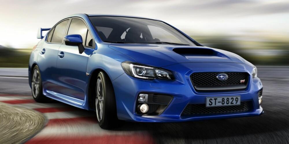 AVGIFTSRAMMET: Også Evo-konkurrenten Subaru WRX STI rammes hardt av avgiftene. Pris Norge: 879 900,-. Pris Sverige: Fra 379 000,-
