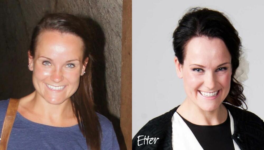 FØR OG ETTER: Til venstre: Sånn så Caroline ut før Kamilles makeover. Til høyre: Resultatet ble strålende!
