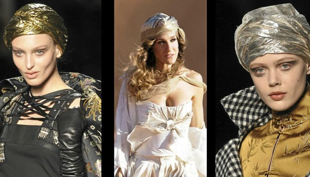 """HET TREND: Turban på catwalken hos Jean Paul Gaultiers høstkolleksjon, og Carrie i """"Sex og Singelliv 2""""."""