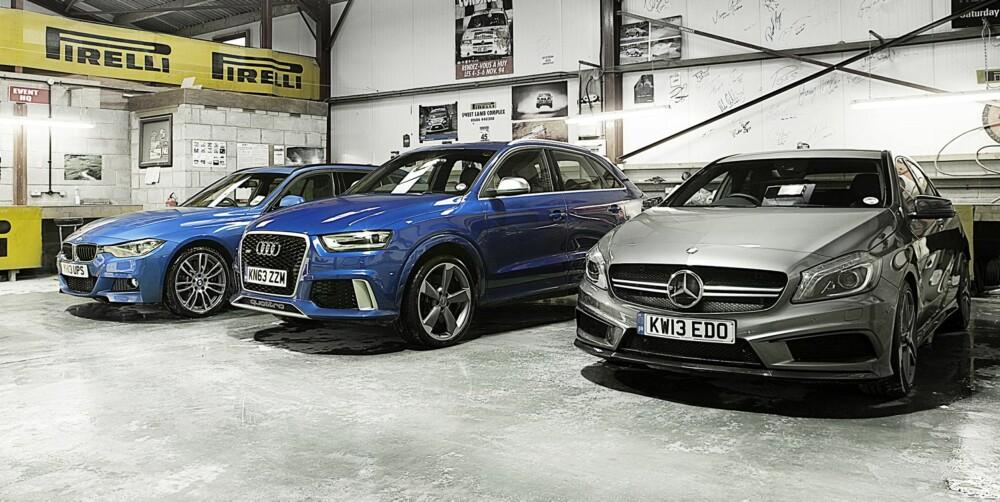 4WD: BMW 330d xDrive Touring, Audi RS Q3 og Mercedes A 45 AMG.