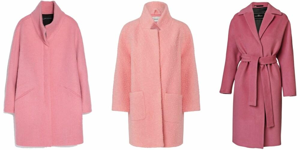 badd1605 UTSOLGT: Disse kåpene i rosa er helt utsolgt. Fra venstre: Zara, kr
