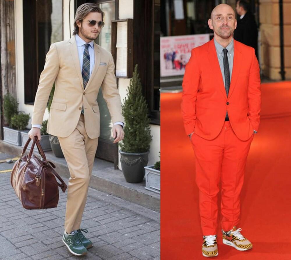 PÅ JOBB: Nå er det blitt stuerent med dress og joggesko. Til høyre: Skuespilleren Dan Mazur er en av mange menn som har kastet seg over joggeskotrenden, og velger gjerne leopardprintede joggesko til den rød løperen.