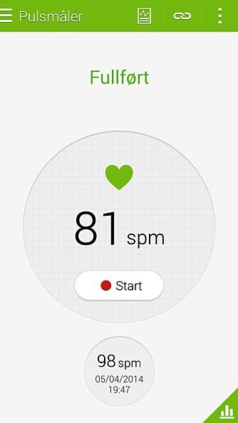 PULS: Ja, vi har puls.  Med Samsung Galaxy S5 i lomma, kan du måle pulsen din når du vil. Den kan også logges i S Health-appen, slik at du kan se pulsutviklingen din.