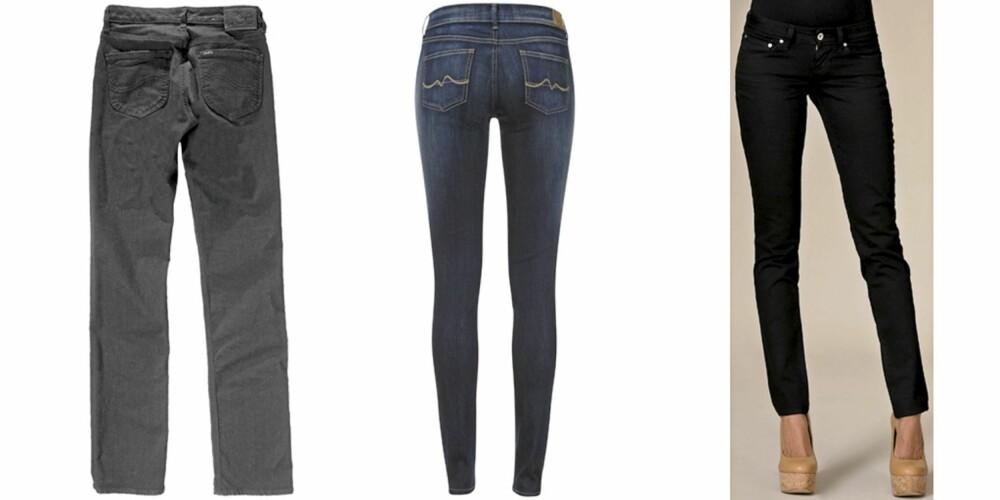 FRA VENSTRE: Lee Marion (kr 749), Pepe Jeans Pixie (kr 999), Levis Bold Curve (kr 899).