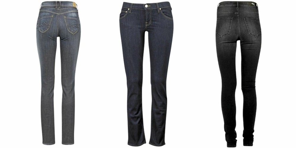 FRA VENSTRE: Pepe Jeans Elite Slimfit (kr 1099), Lee Jade (kr 899), Bik Bok Higher (kr 499).