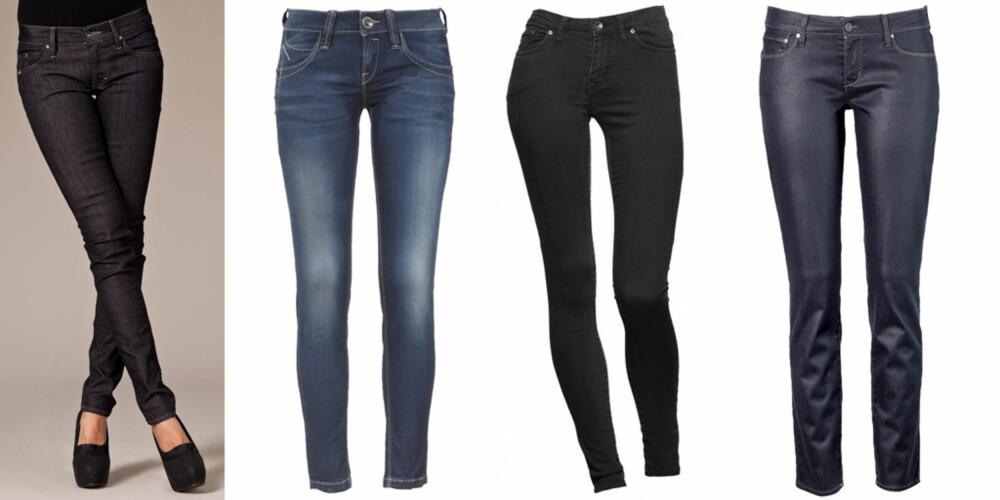 FRA VENSTRE: Tiger Jeans Slender (kr 995), Fornarina Blanca Superslim (kr 1099), Crocker Pow (kr 499), Levis Demi Curve (kr 999).