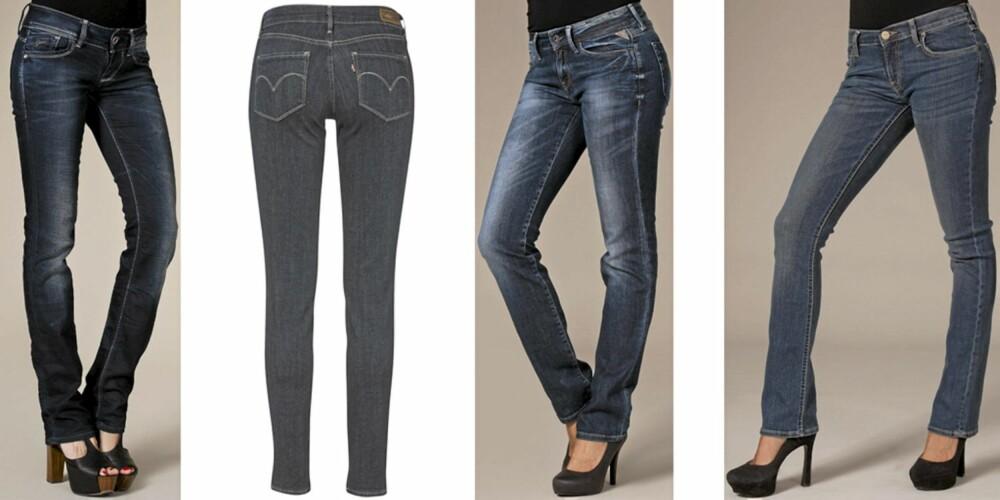 FRA VENSTRE: G-Star Lynn Straight (kr 1395), Levis Bold Curve (kr 899), Replay Jeans Pearl (kr 1195), Lee Bonnie (kr 995).