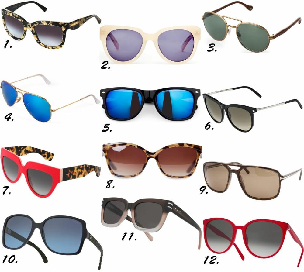 ÅRETS SOLBRILLER: <b>1.</b> Dolce & Gabbana Gold Leaf, kr 2040. <b>2.</b> Kremfarget fra FWSS, 2190. <b>3.</b> Ralph Lauren Safari Edition, kr 2840. <b>4.</b> Ray-Ban Aviator med blått speilglass, kr 1490. <b>5.</b> Svarte med blått speilglass fra Bik Bok, kr 50. <b>6.</b> Saint Laurent mod. SL24, kr 2688. <b>7.</b> Prada mod. 29P, kr 2700. <b>8.</b> Sjiraffmønstrede briller med brunt glass fra MQ, kr 299. <b>9.</b> Tom Ford mod. TF332, kr 2975. <b>10.</b> Chanel mod. 5289Q, kr 3600. <b>11.</b> Marc Jacobs mod. 528, kr 2813. <b>12.</b> Céline mod. 41067-S, kr 2688.