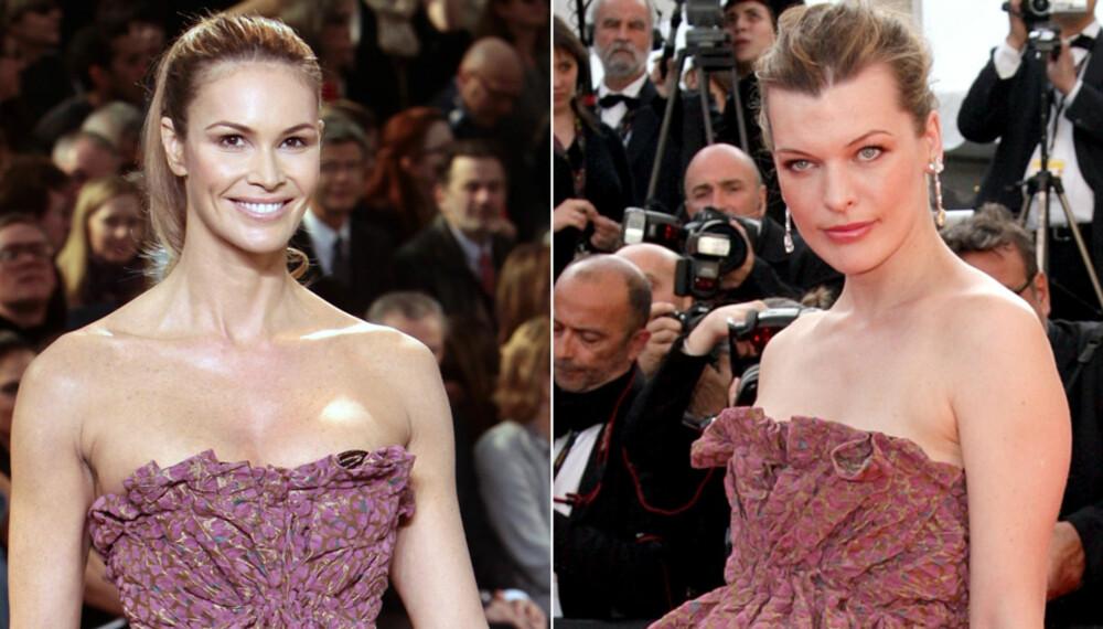SAMME KJOLE: Elle Macpherson og Milla Jovovich har kledd seg i samme Louis Vuitton-kjole.