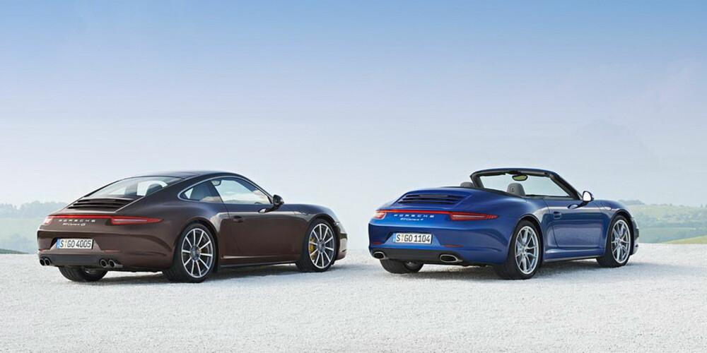 ÅPEN MULIGHET: Den nye Porsche 911 Carrera 4 kommer både som coupé- og cabrioletversjon.