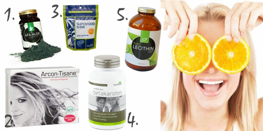 REDD HUDEN FRA INNSIDEN: 1. AFA-alge, kr 300, Supernature.no. Algen har et høyt innhold av vitaminer, b-vitaminer, antioksidanter, mineraler, kalsium, magnesium, jern og sink 2.  Arcon Tisane hårvitaminkapsler, kr 359, Vita. Kapslene inneholder vitaminer og bukkehornsekstrakt, og sies å både skulle gi håret næring, gjøre det sterkere og motvirke håravfall. 3. Superfood blend, ca. kr 190, Navitasnaturals.com. Inneholder knuste goji- og acaibær, i tillegg til granateple. Rik på vitaminer, mineraler og antioksidanter. 4. Betakaroten, kr 120, Sunkost. Tilskudd som kan brukes som forberedelse til soling for å gi jevn varende farge. Inneholder vitamin A og flere karotenoider. 5. Pre Lecithin, kr 369, Supernature. Lecithin spiller en sentral rolle i cellenes regeneresingsprosess.