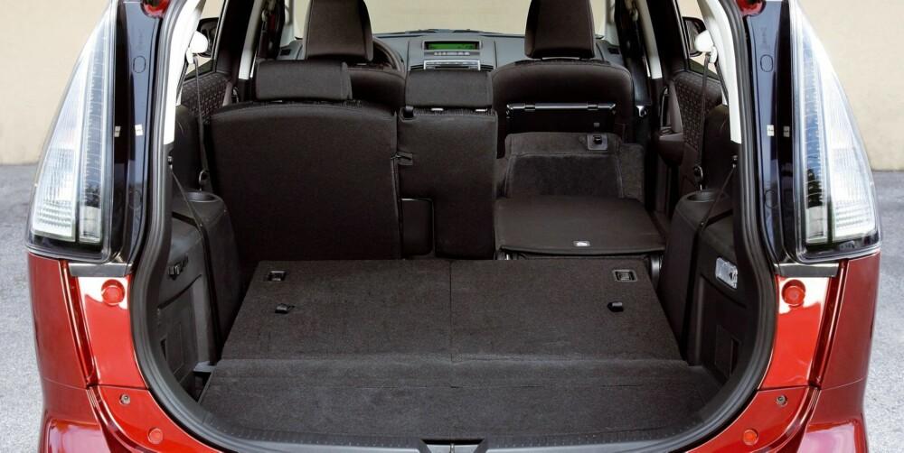 SYV SETER: Plassen i Mazda5 varierer fra 158 til 1485 liter. Foto: Mazda