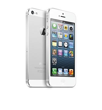 LEKKER: Designet er som vanlig lekkert. iPhone 5-kroppen er bygget fullstendig av glass og aluminium.