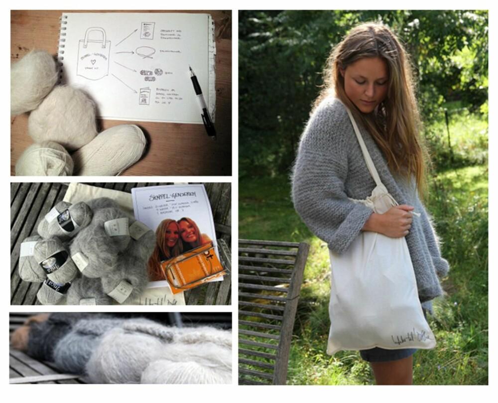 STRIKKE-KIT: Maria, Marthe og Dorthe Skappel har laget 100 strikke-kit til Skappel-genseren. Her ser vi Marthe Skappel ikledd fargen lys grå.