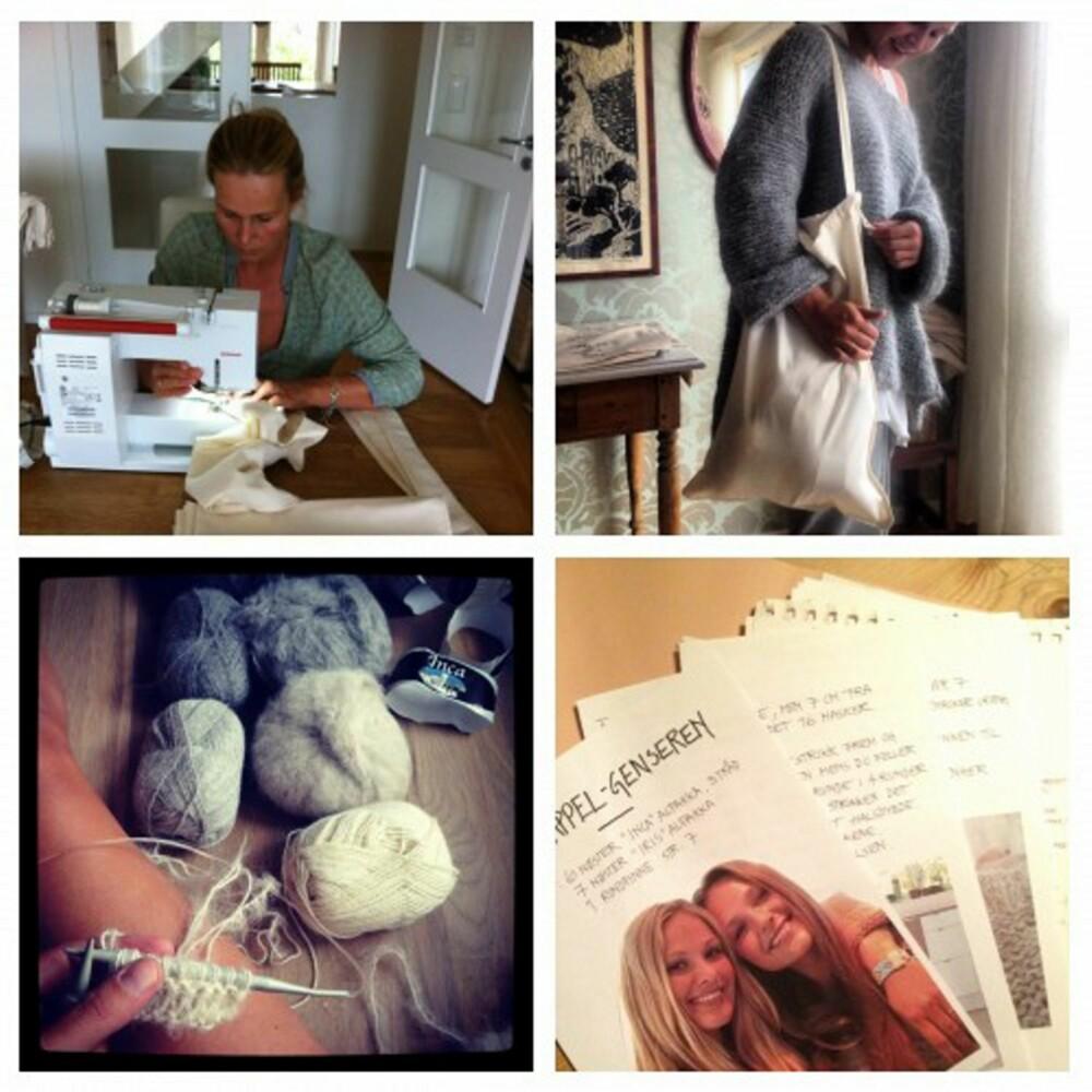 HAR SYDD OG SLITT: Alle har stått på for å få ferdige strikke-kitene til den populære Skappel-genseren. Dorthe Skappel i full konsentrasjon ved symaskinen vitner om intens innsats før åpningen av nettbutikken.