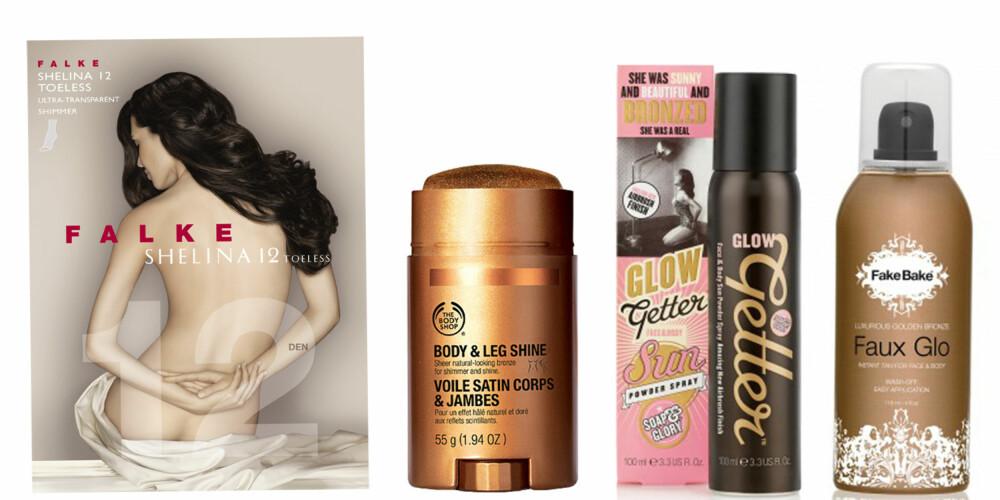FRA VENSTRE: Falke Sheline Toeless strømpebukse (kr 99), The Body Shop Body & Leg Shine (kr 179), Sopa & Glory Glow Better (kr 169), Fake Bake Faux Glo (kr 249).