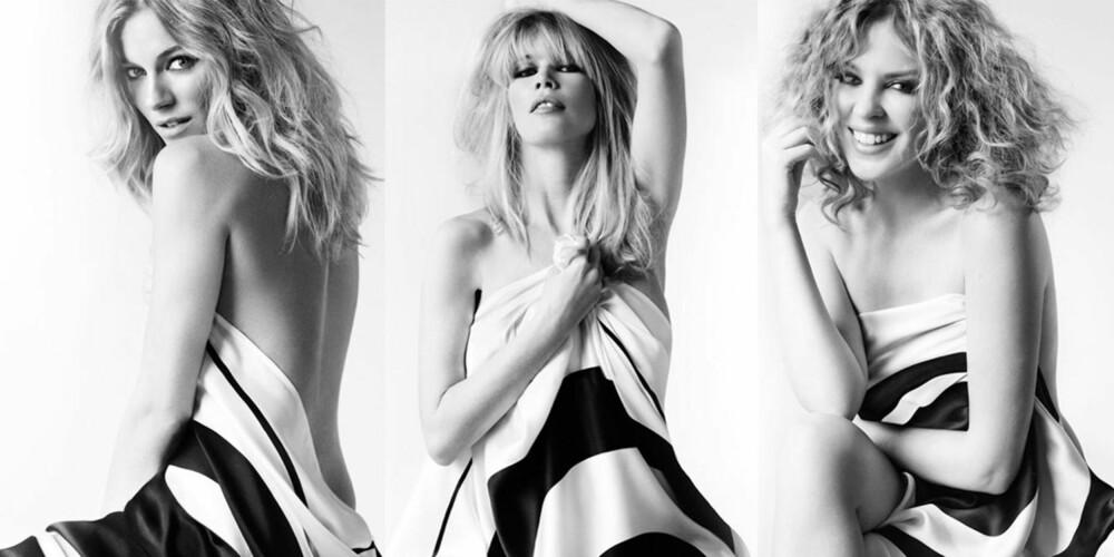 KJENDISER MED SAMVITTIGHET: Sienna, Claudia og Kylie støtter alle opp om Fashion Target Breast Cancer kampanjen. Ralph Lauren startet kampanjen etter at en venninne døde av kreft på 1990-tallet.