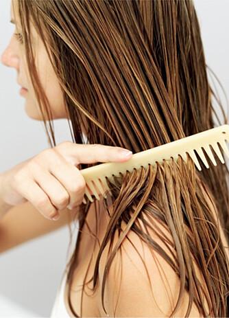 VÅTT HÅR ER SÅRBART: Børst forsiktig ut flokene når håret er vått.